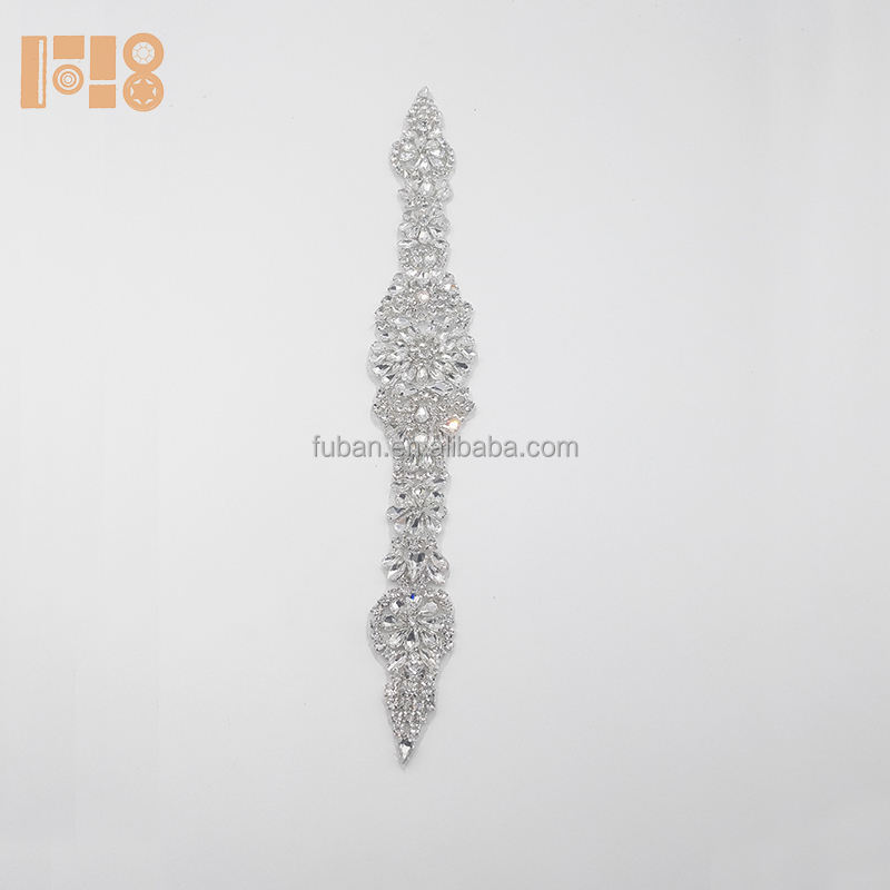 Wholesale bodice crystal elegant wedding rhinestone applique for dress sashes