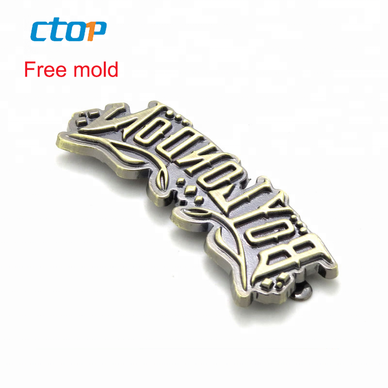 Wholesale high quality manufacturer metal logo custom brand clothing labels bag tag metal logos for bags
