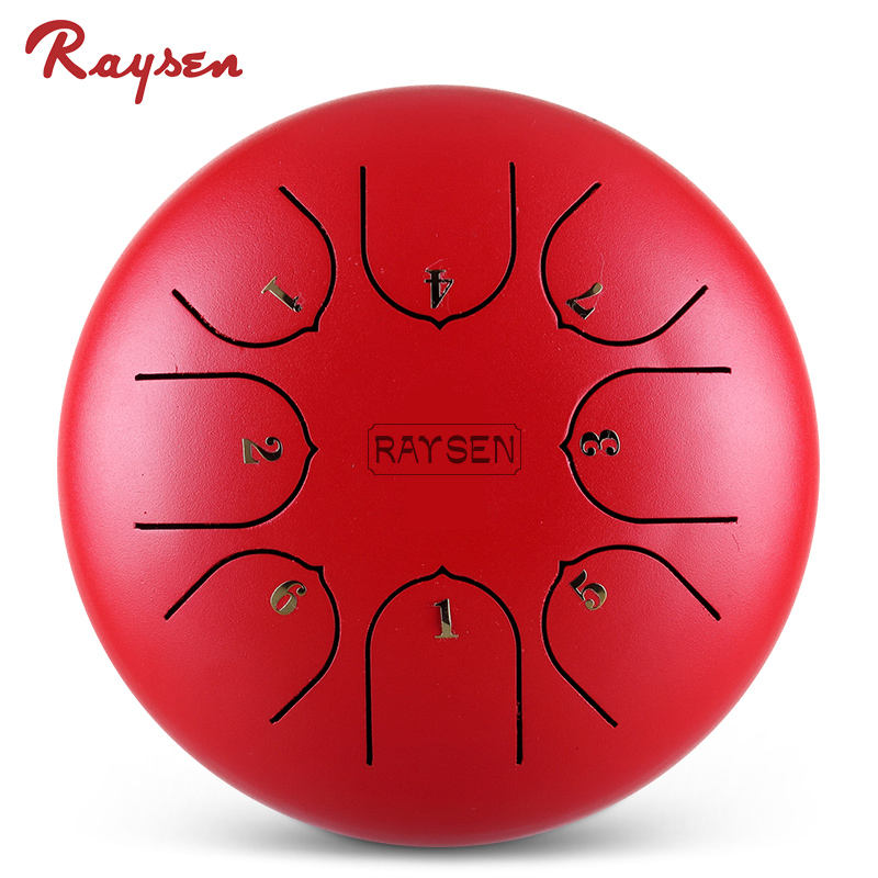 Hot selling red 6'' 8 notes hang drum children musical instrument mini tongue drum