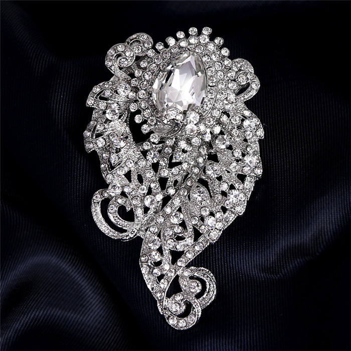 silver plated large valentine brooches for dresses saree accessories brooch