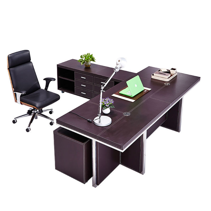 leather modesty panel wooden executive office desk(F-26)