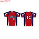 Red color shirt six button custom made sublimation baseball jersey