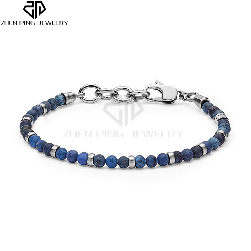 Stainless Steel Vintage Casual Lobster Clasp Blue Beaded Bracelet