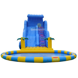 Tobogán inflable con piscina inflable tobogán de agua inflable parque de agua de la piscina