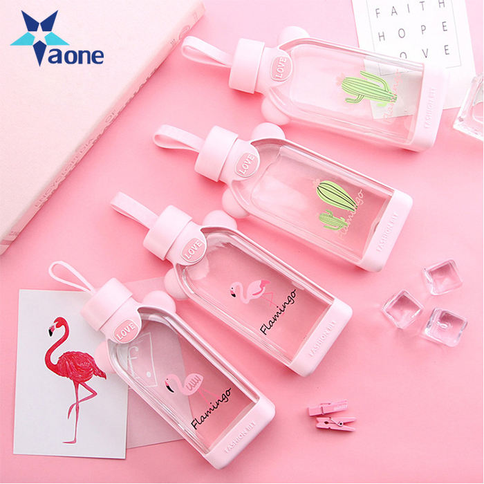 Promotional Gift 350ML Sweety Water Bottle Cute Flamingo Cactus Glass Milk Bottle For Water Portable Girl Student Water Kettle