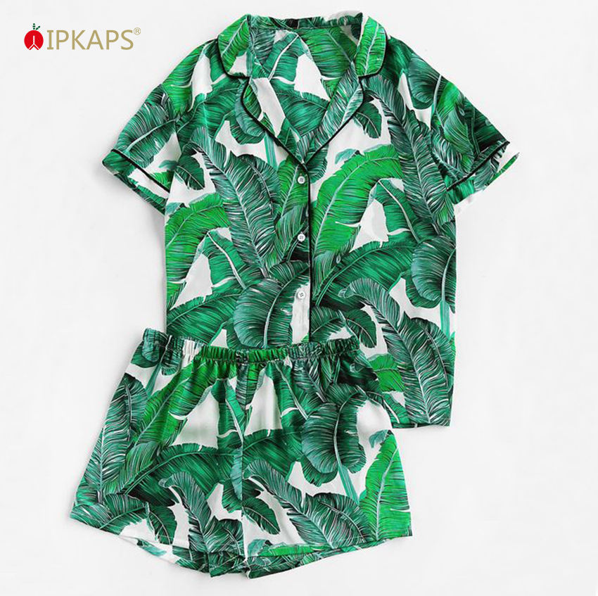 2020Wholesale Top Sale Piping Tropical Palm Leaf Digital Printed Short Sleeve Button Nightwear