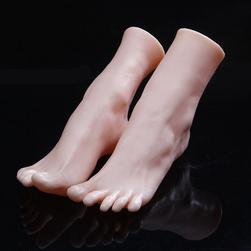 Skin Color Women's Lifelike Feet Model Display Shoes Socks Toes Separate Soft Foot Mannequin
