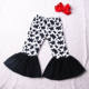 Cow Printed Baby Girls Solid Ruffles Little Kids Wide Bell Bottoms Pants