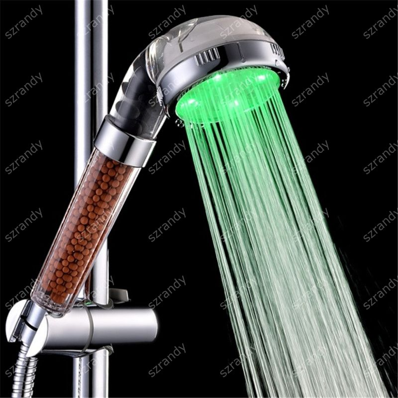 LED Automatic Control Luminous Shower Head Removable Anion Handheld Shower Color green