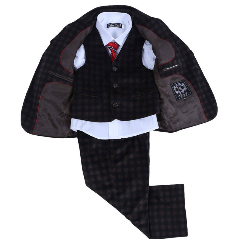 Free Shipping Toddler Boys Plaid Velvet Blazers Kids Brown Boys Corduroy Blazer Baby Boys Suits Set Formal Clothing For Wedding