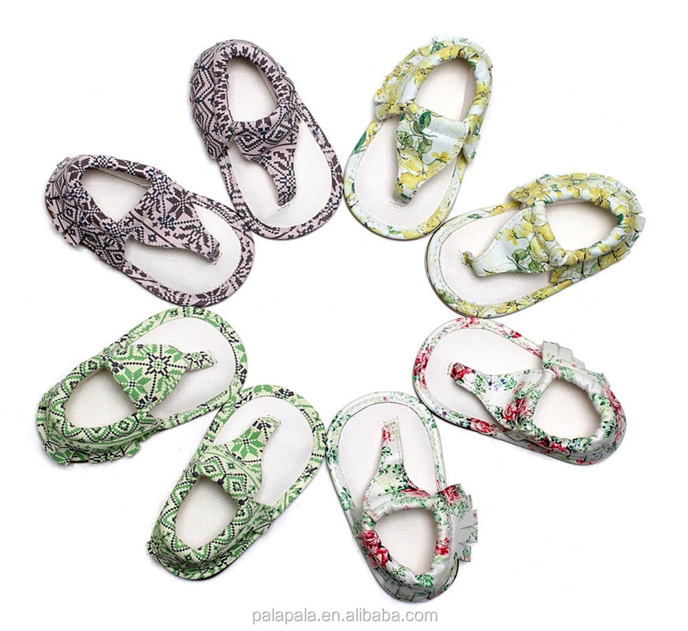 factory High quality summer floral T-bar rubber sole baby sandals toddler sandals