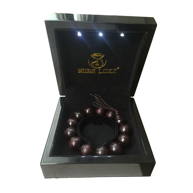 Luxury MDF Black varnish wooden jewellery wedding ring lamp bracelet piano paint packaging jewelry box with LED light