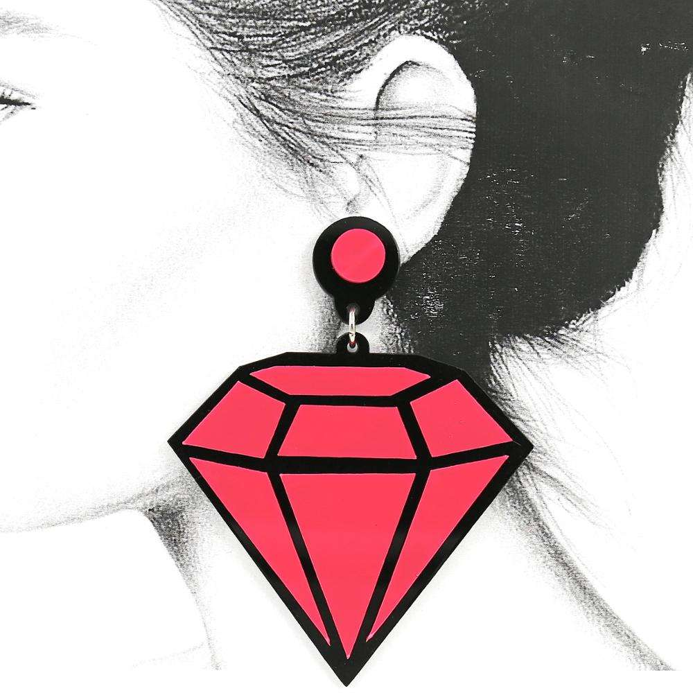 Women Latest Model Fashion Jewelry Acrylic Neon Pink Diamond Stud Earrings