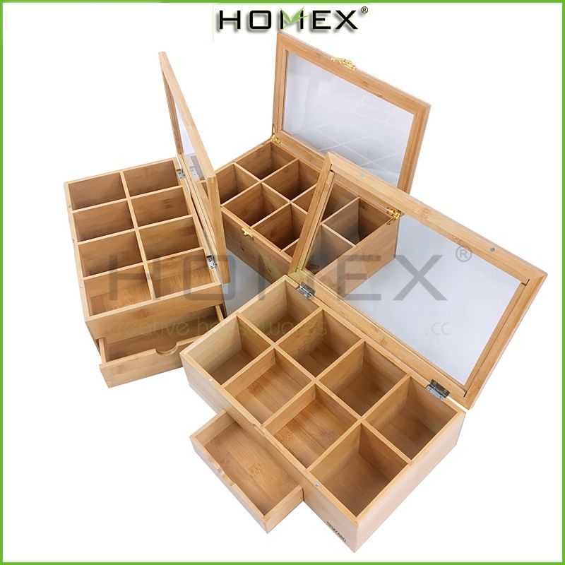 Tea Bag Storage Container Bamboo 8 Compartment Box with Magnetic Closure and Ergonomic Front Handle /Homex-BSCI_FSC