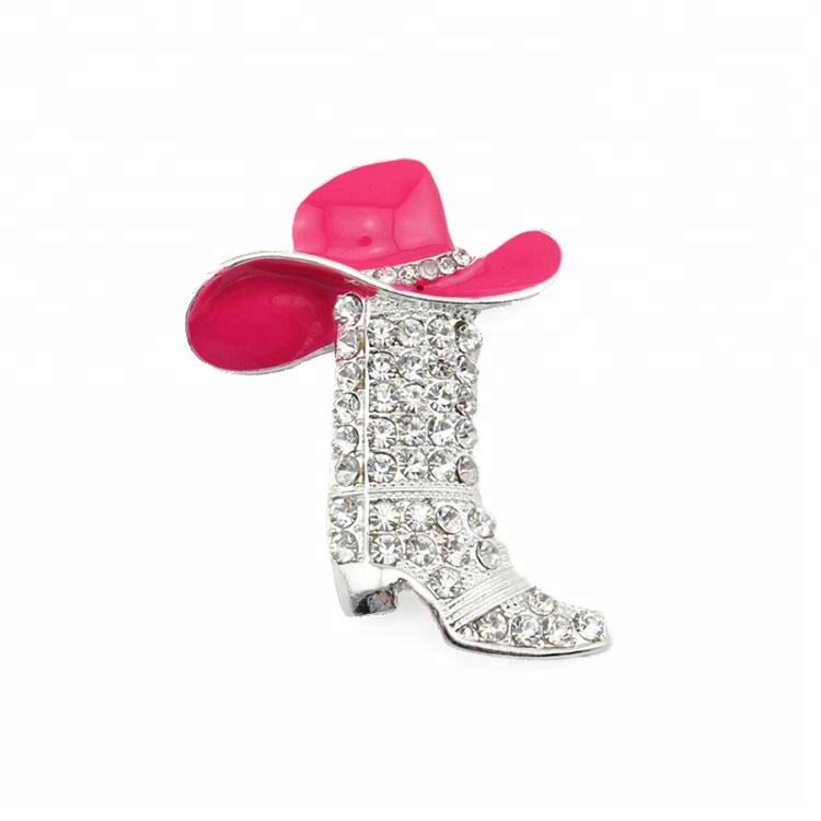 Cowboyhoed crystal Boot roze strass broach pin