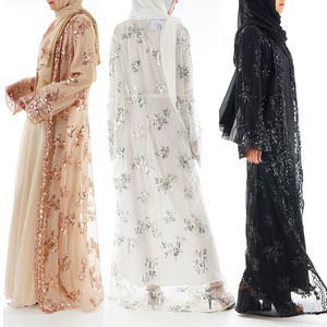 2021Spring Women's long skirt kaftan luxurious Lace seamless embroidered sequin abaya muslim dresses