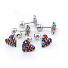 ES01079 heart crystal stainless steel stud earrings