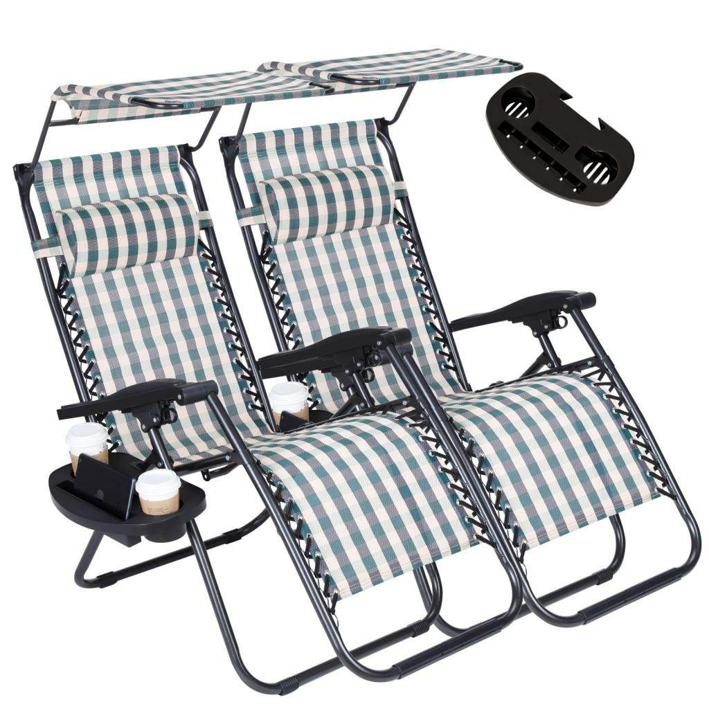 Zero Gravity Outdoor Folding Lounge Chairs w/Sunshade Canopy Snack Tray,Adjustable Patio Reclining for Travel Yard Beach Pool
