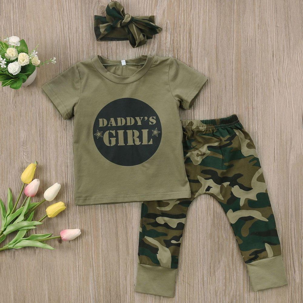 Beau bébé armée vert ensembles coton nouveau-né ensembles bébé vêtements