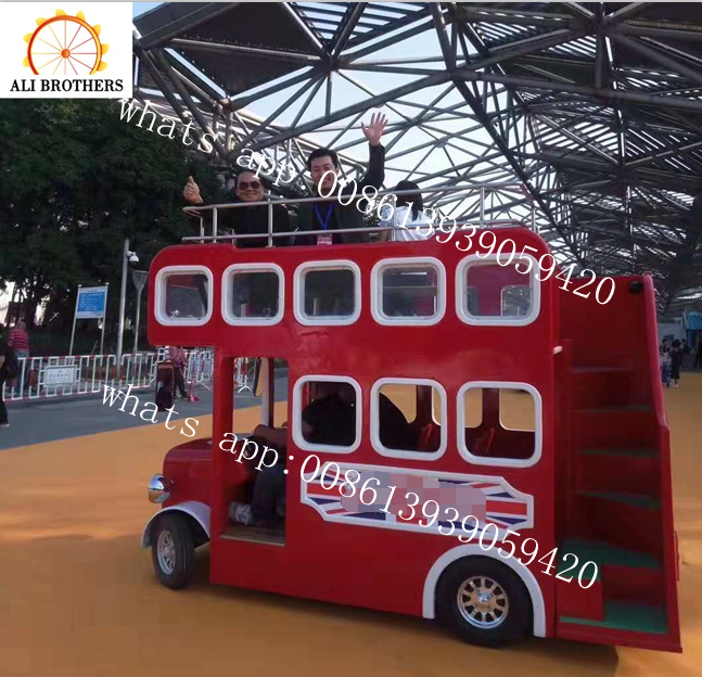 Latest design amusement ride mini electric battery london bus trackless train for shopping mall