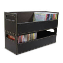 Black Stacking Stackable Faux Leather DVD Disk CD Rack Holder Tray organizer