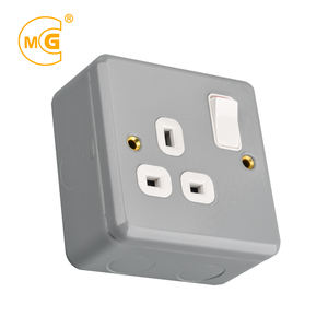 Logam Berpakaian Power 13A Switch Socket Box