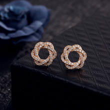 Fine Jewely Delicacy Dubai 18k Gold Plated Zircon Inlay Stud Earrings For Women Accessories