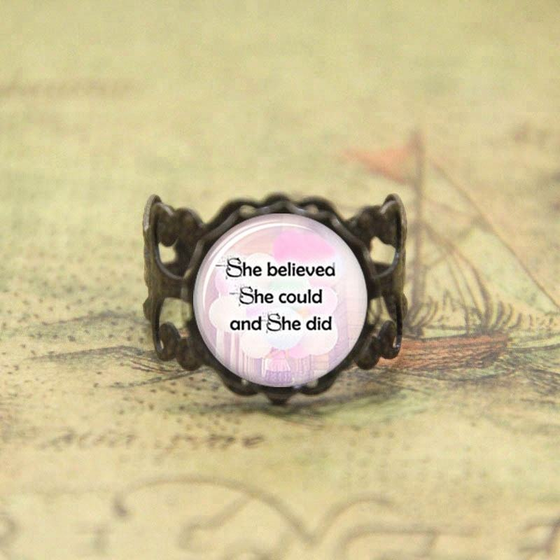 Geloof in jezelf ring Ze Geloofde ze inspirational Glas Foto Cabochon ring