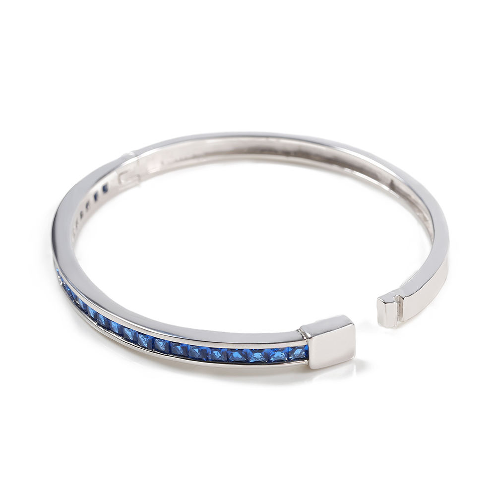 Women 925 Silver Cuff Made Of Sterling Silver 6mm Models Design18.8cm Blue color Gift For Women