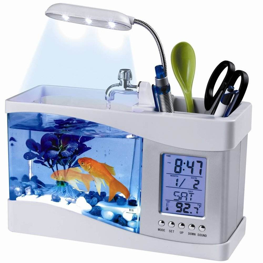 USB Desktop Aquarium Mini Fish Tank with Running Water LCD Time Clock Alarm Colorful LED Lamp Light Calendar Holds 1.5 Quart for