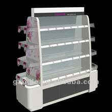 2016new model makeup shelving rack for cosmetic displays showcase