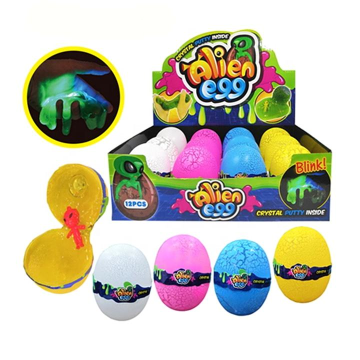 Light Up Toys Alien Egg Putty Toy Crystal Slime With Figurine