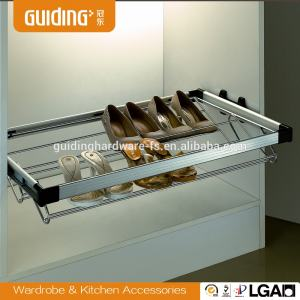 Wardrobe chrome slide out shoe rack organizer