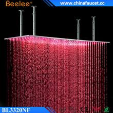 "Beelee Big 20"" Ceiling Mounted Bathroom Shower Stainless Steel Rainfall LED Rain Shower Head"