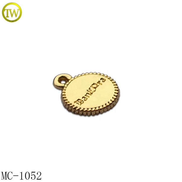 Custom round brand logo engraved metal charms,silver jewelry tags by Guangzhou made