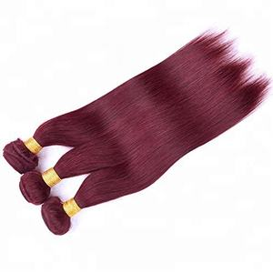 Wholesale 16 inch straight indian remy hair weaving 99j color burgundy bundles
