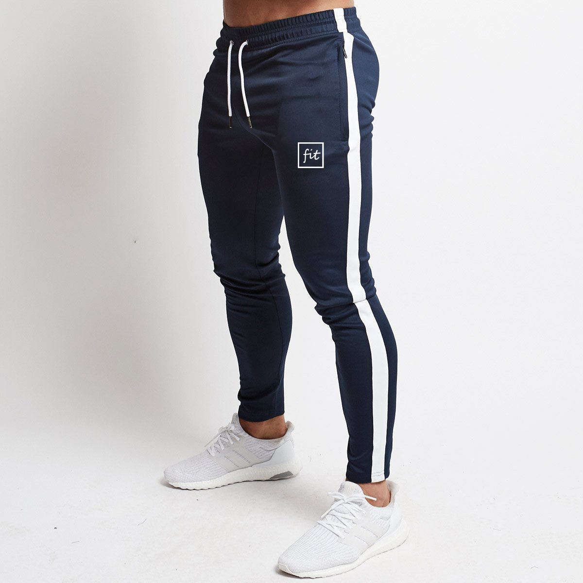 MS-2438 white stripe Jogger trackpants men joggers cotton pant