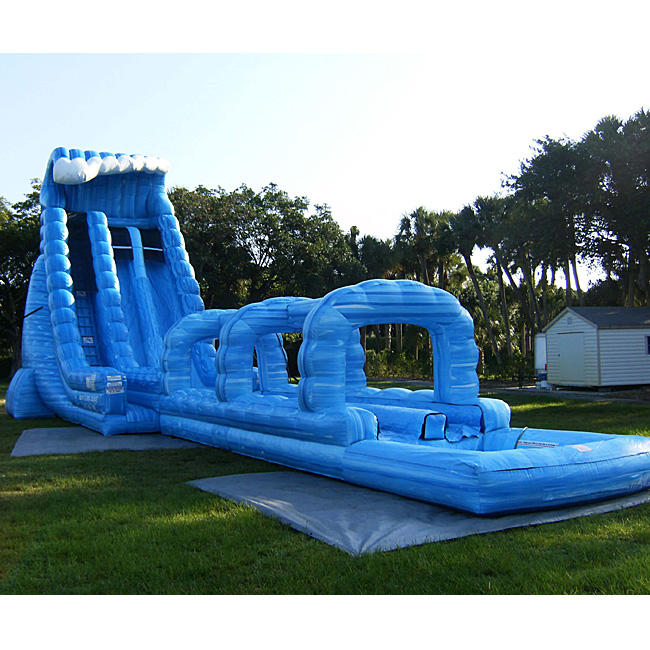 Manufacturer magic large blue crush running bouncy games inflatable water slide