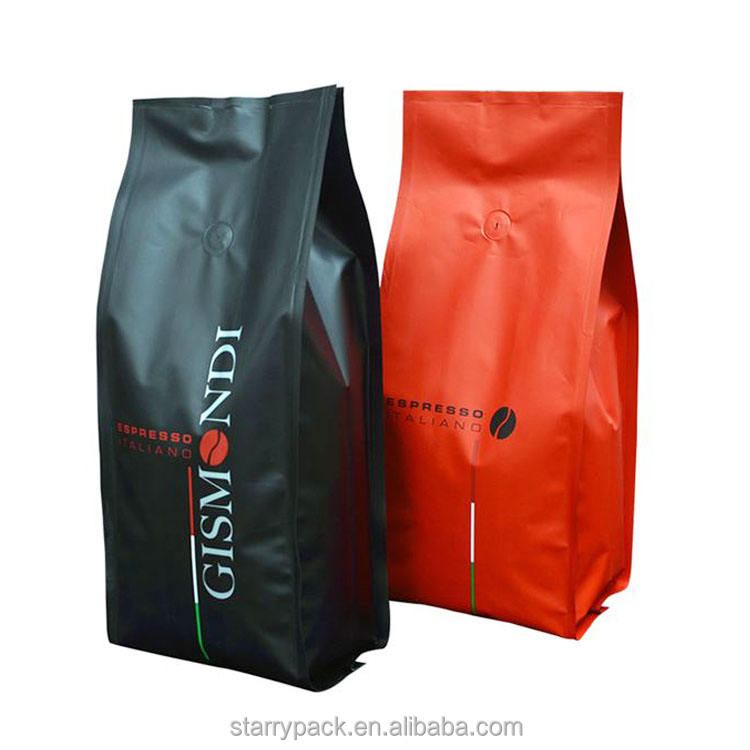 Matt foil side gusset coffee package bag with degassing valve