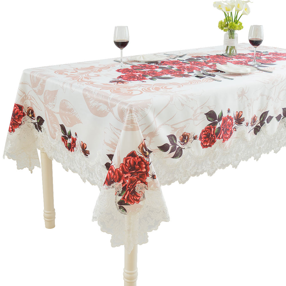 LongShow Polyester Custom Rose White Digital Printing Table Cloth