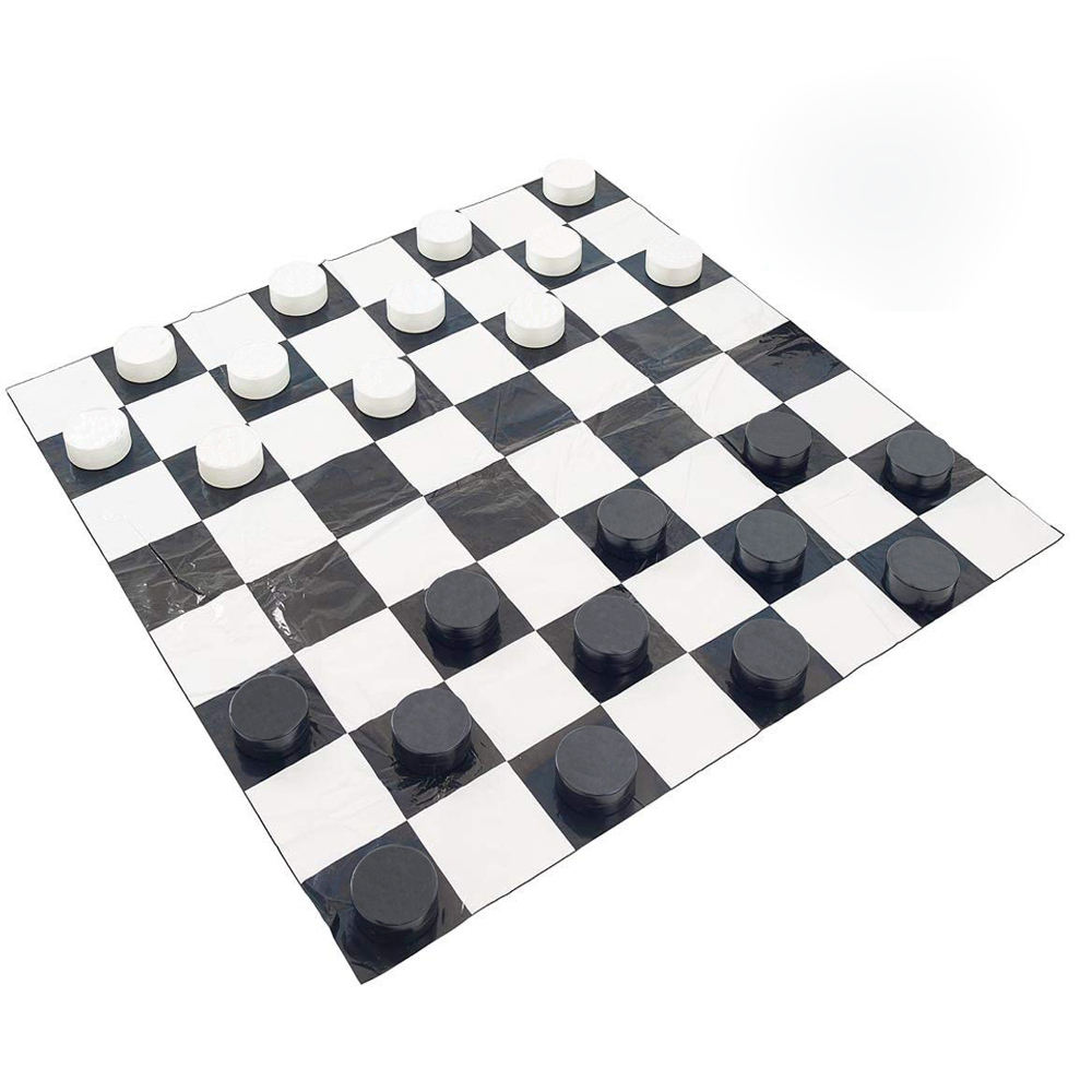Zwart En Wit Schaken Opblaasbare <span class=keywords><strong>Checkers</strong></span> Mat Met <span class=keywords><strong>Checkers</strong></span> Set