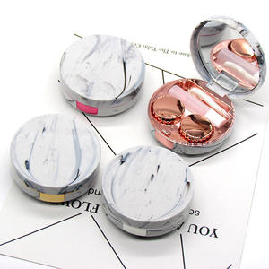 Maimeng Mini Round Marble Pattern cheap contact lenses case with mirror plastic contact lens case magnify