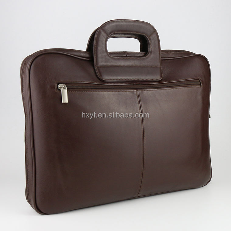 Classic Best Quality Men Brown Genuine Cow Leather Briefcase