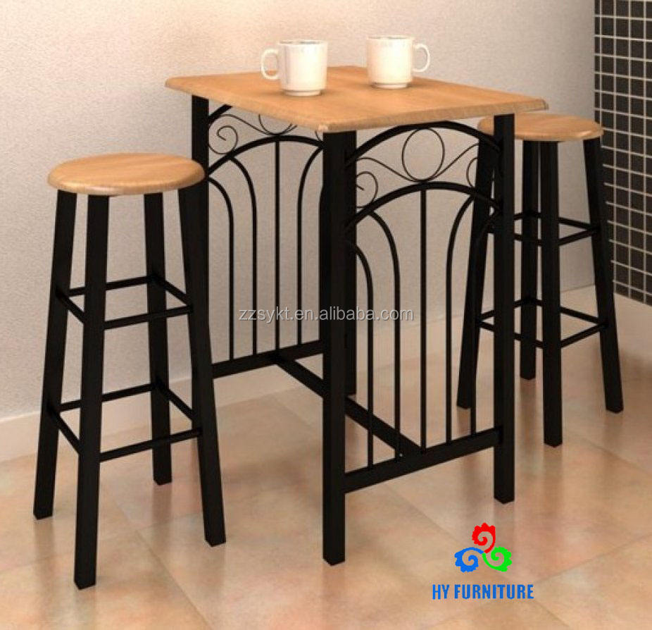 Metal Tube Bar Table FurnitureR Contemporary MDF Bar Pub Height Table for Home Restaurant
