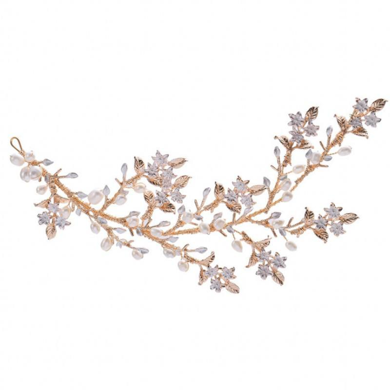 Sweet Gold Wedding Leaves Hair Vines Headbands with Pearl Wedding Bridal Headpieces Headband for Bride and Bridesmaid