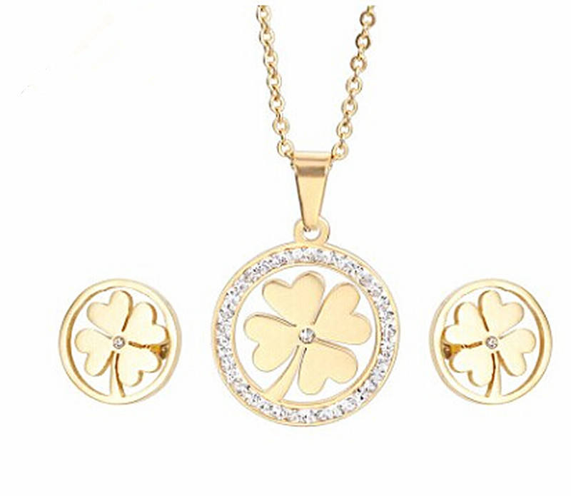 Lucky Jewelry Stainless Steel Gold &Silver Color Clover Pendant Necklace Earrings Sets For Kids Girls From China Supplier