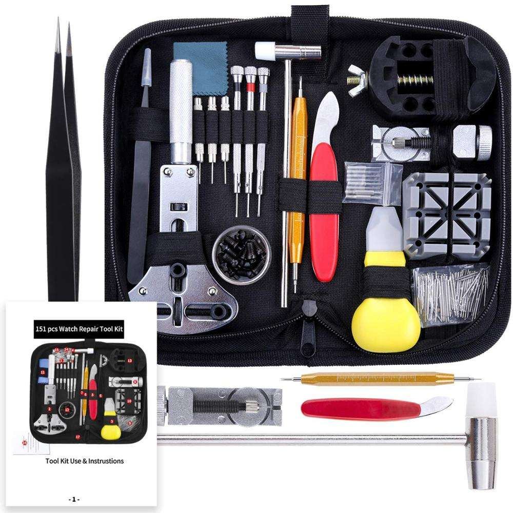 151 PCS Watch Repair Kit, Watch Repair Tools Professional Spring Bar Tool Set, Watch Band Link Pin Tool Set with Carrying Case