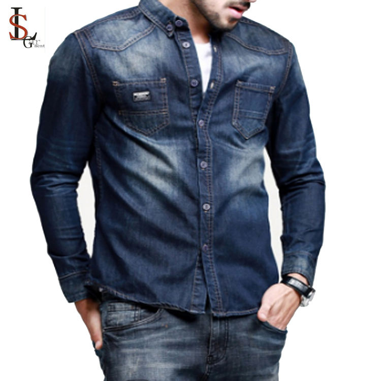 OEM Service for 100% Cotton denim Men's Casual Shirts, Long Sleeves per-washed