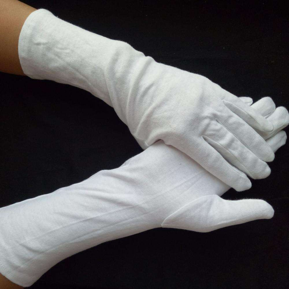 long cuff cotton gloves 35 cm White Dress Gloves Marine Corps Navy Army Coast Guard uniform men women cotton