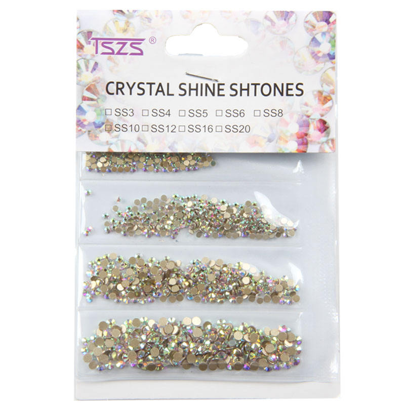 Glitter Crystal Clear AB SS3-SS10 Mix Size Non Hot Fix Flat Back Rhinestone Glass Stone Nails Decoration 3D Art Nails